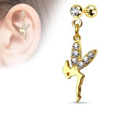 Shop for {Gold/Clear} CZ Paved Wing Fairy Dangle Surgical Steel Cartilage/Tragus Barbell (Sold Ind. Get free delivery On EVERYTHING* Overstock - Your Online Jewelry Shop! Piercing Helix Avant, Piercing Cartilage, Forward Helix Piercing, Body Piercing, Body Necklace, Silver Nose Ring, 14 Carat, Plaque, Bracelet Making
