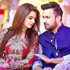 Atif Aslam with his beautiful wife Celebrity Singers, Celebrity Couples, Celebrity Pictures, Celebrity Weddings, Beautiful Wife, Beautiful Couple, Atif Aslam Wife, Pakistani Wedding Outfits, Pakistani Dresses