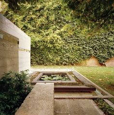 Peaceful garden in Venice, Italy. Design by Carlo Scarpa. Querini-Stampalia Foundation, Santa Maria Formosa Square, Venice. 1961-3. Carlo Scarpa