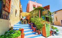 Colorful Cafe in Rethymnon town, Crete island, Greece, Rethymnon Crete, Colorful Cafe, Crete Island, Crete Greece, Travel Destinations, Travel Europe, Out Of This World, Greek Islands, Shade Garden