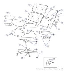 A Herman Miller schematic of the Eames Lounge Chair.