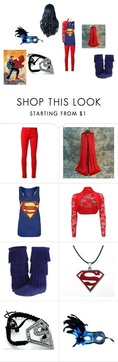 """female Superman (Justice League)"" by mysherm6775 ❤ liked on Polyvore featuring Salvatore Ferragamo, Minnetonka, Shamballa Jewels and Masquerade"