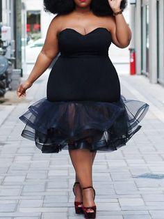 Plus Size Mid-Calf Mesh Sleeveless Plain Strapless Dress Big Girl Fashion, Curvy Fashion, Plus Size Fashion, Vestido Strapless, Mode Plus, Beach Dresses, Dressy Dresses, Linen Dresses, Club Dresses