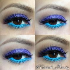 Blue Eyeshadow Look @Janet Skinner Love blue-purpled eyeshadow for a creative attractive brown eyes. #MakeOverBar