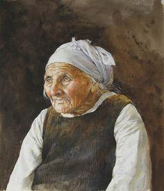 ATANAS MATSOUREFF  -  Bulgaria  'Grandmother'  2010  40x46 cm  (Watercolour) Watercolor Landscape Paintings, Watercolor Portraits, Watercolour Painting, Watercolours, Blue Art, Art Techniques, Rose, Art Forms, Impressionist