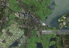 Amsterdam, Netherlands. True colour satellite image of Amsterdam, the capital city of the Netherlands. Image taken on 18 October 1999 using LANDSAT 7 data., Amsterdam, Netherlands, True Colour Satellite Image