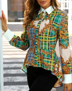 Mixed Print Long Sleeve Dip Hem Shirt Shop- Women's Best Online Shopping - Offering Huge Discounts on Dresses, Lingerie , Jumpsuits , Swimwear, Tops and More. Mixing Prints, Shirt Shop, Casual Tops, Pattern Fashion, Sleeve Styles, Blouses For Women, Trendy Outfits, Long Sleeve, Shirts