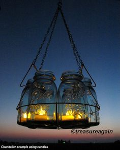Solar Mason Jar Chandelier Mason Jar Hanging by treasureagain
