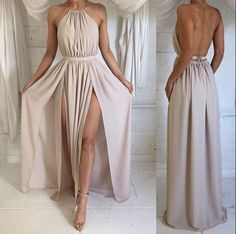 Deep V Neck Long Chiffon Prom Dress Backless Evening Dress Sexy Open Back Spaghetti Strap Party Dress