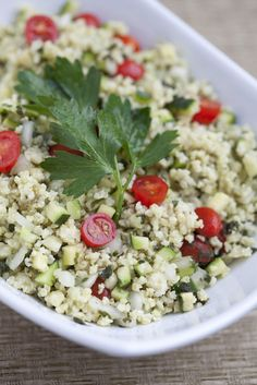 """Millet """"Couscous"""" Salad Recipe    4 cups water  2 cups millet  2 large zucchini, diced  10-12 cherry tomatoes, halved  1 large sweet onion, diced  1-2 cups finely chopped fresh basil (depending on how much you like. I like a lot!)  1 cup finely chopped fresh mint  1 ½ Tbs. olive oil  1/4 cup fresh lemon juice  ¼ tsp. freshly ground black pepper  High quality sea salt, to taste"""