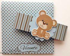 convite artesanal ursinho marrom e azul