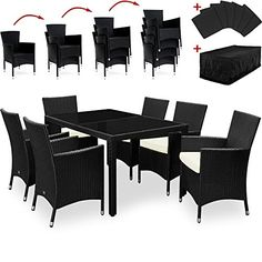 rattan garden furniture dining table set 6 seater incl tarpaulin and cushion covers black patio