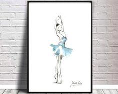 Original Aquarell Kunst Gemälde Ballerina von Ewa Gawlik