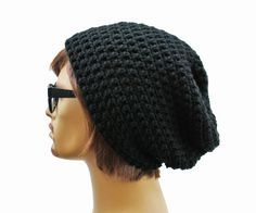 The PERFECT Black Slouch Beanie  Black Slouch Beanie Mens or Unisex by GlamourDamaged, $20.00
