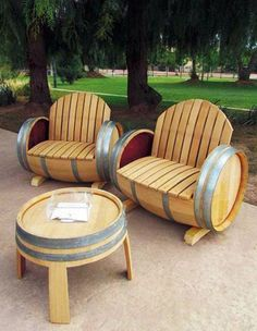 Cool 49 Awesome Diy Wine Barrel Projects Ideas That You Need To Have Wine Barrel Diy, Wine Barrel Chairs, Wine Barrel Furniture, Wine Barrels, Furniture Fix, Metal Furniture, Repurposed Furniture, Furniture Makeover, Outdoor Furniture Sets