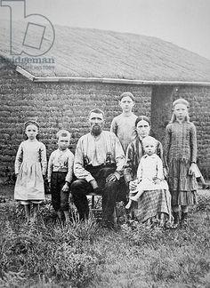 American pioneer family, c.1870 (b/w photo)