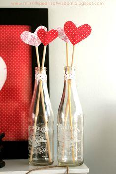 Valentine's Decor, Hearts, Bottles, Valentine's Mantle