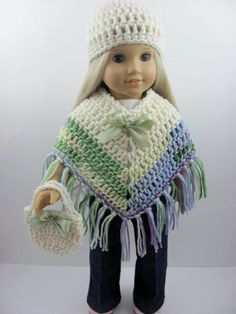 3 Piece Crocheted Poncho Set for The American Girl Doll