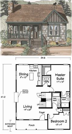 Facts About Cozy House Exterior Small 86 – 2019 - House ideas Sims House Plans, House Plans One Story, Cottage House Plans, Modern House Plans, Small House Plans, Cottage Homes, Small Floor Plans, Floor Plan With Basement, Tiny Cottage Floor Plans