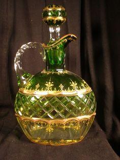 *MOSER ~ Antique Art Glass Decanter Gold Gilded and Enameled - Emerald - Polished Pontil Art Of Glass, Glass Artwork, Stained Glass Art, Cut Glass, Antique Glass, Antique Art, Ludwig, Jewelry Boards, Gold Gilding