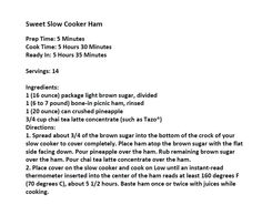 Jim Bob and Mae Recipe of the Day   Sweet Slow Cooker Ham  http://www.dailyrecipedoctor.com