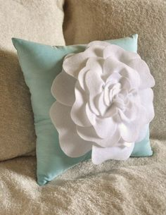 Blue Decorative Pillow Aqua Pillow with White Rose by bedbuggs