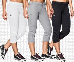 Under Armour HeatGear Strike Zone Women's Fastpitch Softball Pants Black, White & Gray