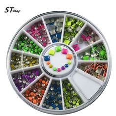 Buy One Wheels New Fashion Punk Neon 3d Nail Art Studs DIY Square Round Colorful Decorations DIY Tools Cellphone Stickers NC050 at JacLauren.com