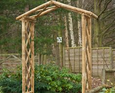 Rustic Arch - This arch is designed to offer a quick escape to the country only a few steps away from your front door! Art Furniture, Garden Furniture, Garden Fencing, Fence, Garden Arches, Wood Art, Arbour, Yard, Outdoor Structures