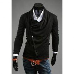 $13.31 Korean Style Slimming Turndown Collar Side Buttons Long Sleeves Cashmere Blend Cardigan For Men