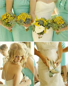 Seafoam bridal dresses with the accenting bouquet? I think its okay if you do yellowish hues? >.0 it goes with the gold??