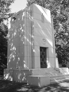 The Wilson Mausoleum at Woodlawn Cemetery is a fine example of stripped down Art Deco. The granite memorial was designed by William Henry Deacy in 1939. Mrs. Wilson had previously been married to one of the Dodge brothers, whose memorial is next to this one.