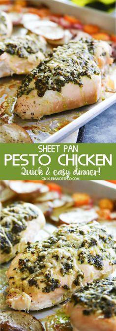 "Sheet Pan Pesto Chicken Dinner Recipe via Kleinworth & Co. ""Sheet Pan Pesto Chicken Dinner is a healthier supper recipe the whole family will love. Delicious baked chicken & roasted radishes, kumquats & potatoes-YUM!"""