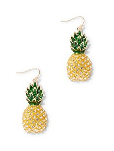 Pineapple Goldtone Drop Earring - New York & Company Women's Earrings, Crochet Earrings, Pineapple Jewelry, Pineapple Under The Sea, Earring Trends, Chocker, Needful Things, Accessories Shop, Jewelery