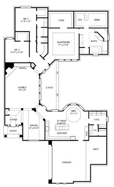 First Floor Plan of European   House Plan 61545