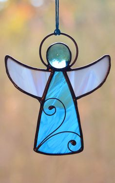 Stained glass angel, Christmas decor, Christmas suncatcher, angel gift, Tiffany, glass angel, stain glass, angel ornaments, wire ornaments