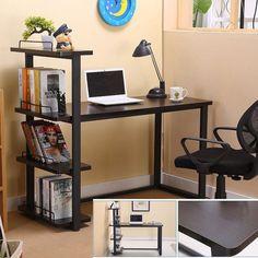 moderne bureau a domicile bureau coin ordinateur pc table poste de travail avec bibliotheque etagere bureau meubles vente chaude