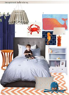 Inspired Interiors: Complementary Boy's Bedroom via The Perch #boy #bedroom #inspiration