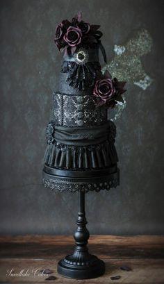 Gothic wedding cake by Tamara - http://cakesdecor.com/cakes/214170-gothic-wedding-cake