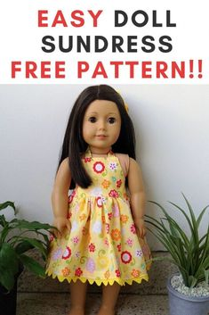 Free American Doll Dress Sewing Project - Sew Crafty Me Learn how to sew this american 18 inch doll midi/maxi dress pattern in less than an hour. It is great as a beginner project too. Sewing Doll Clothes, Baby Doll Clothes, Crochet Doll Clothes, Sewing Dolls, Barbie Clothes, American Girl Outfits, American Girls, Poupées Our Generation, Dress Sewing Tutorials