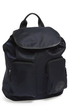 Giorgio Armani Leather Trim Backpack available at #Nordstrom