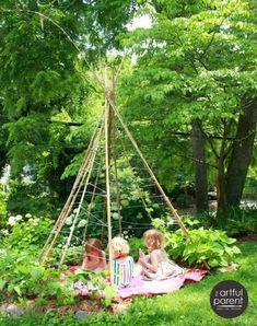 How to Make a Bean Pole Teepee for a Kids Garden, … - Obst Vegetable Garden Design, Diy Garden, Garden Projects, Bean Garden, Garden Kids, Herbs Garden, Diy House Projects, Fruit Garden, Garden Planters