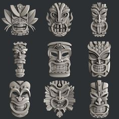 This STL models for CNC set 9 models totems is just one of the custom, handmade pieces you'll find in our digital shops. Tiki Tattoo, Totem Tattoo, Totem Tiki, Totems, Tiki Maske, Tiki Head, Tiki Statues, Tiki Art, 3d Cnc