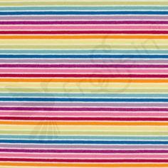 Cotton Jersey - Rainbow Stripes-White