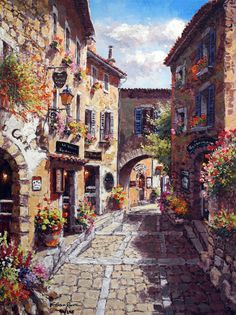 Eze Village, Hand Embellished Giclee on Canvas by Sung Sam Park