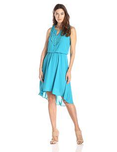 London Times Women's Applique Vent Neck Hi Lo Hem Dress >>> Discover this special product, click the image : Women's dresses