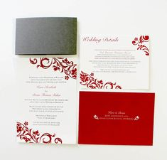 Traditional Wedding Invitations in Red & Grey #wedding #invitations #floraldesign