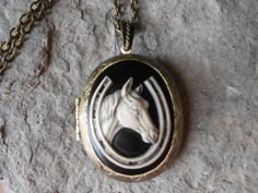 """BRONZE LOCKET (Hand Painted Cameo) --Stunning Horse and Horseshoe Pendant Locket--  2"""" long-- Great Quality - pinned by pin4etsy.com"""