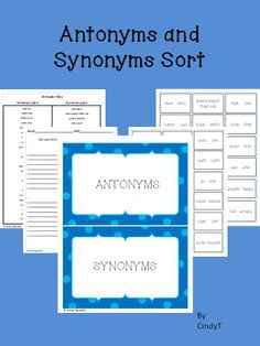 49 Best Free Synonyms Antonyms Printables Images Synonym