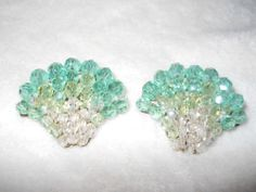 COPPOLA e TOPPO EARRINGS GREEN GLASS CRYSTALS FAN SHAPED MID CENTURY SIGNED